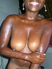 Busty ebony young women tempts us with..